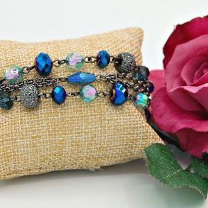 M. Haskell Blue Multi Layer Bead Bracelet NWT